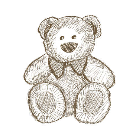 Hand drawn teddy bear isolated on white. Vector