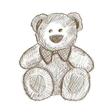 ours: Tir� par la main ours en peluche isol� sur blanc. Illustration