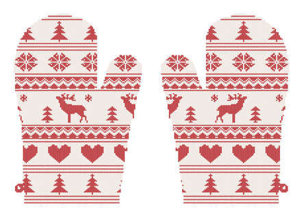 knitted christmas mittens with pattern with deers, vector illustration