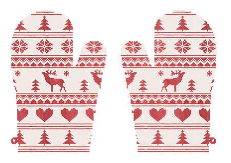 Navidad mitones de punto con patrón con deers, ilustración vectorial