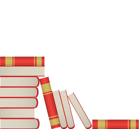 bibliography: Pile of books in red cover on white background
