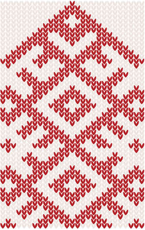 woolen: knitted christmas pattern in red color. vector illustration