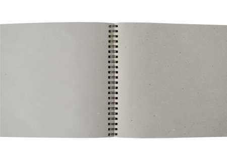 Recycle paper notebook open two pages on white background photo