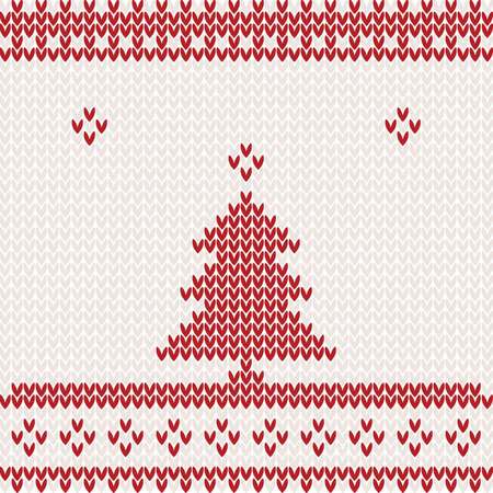 scandinavian: Knitted background with Christmas tree