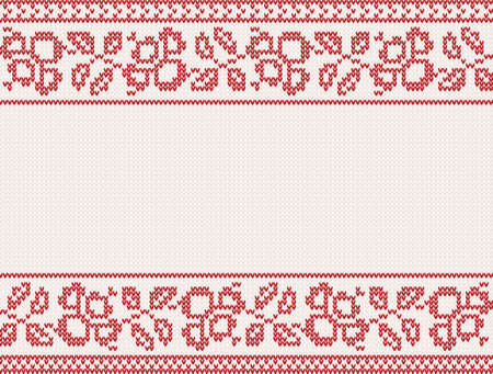 christmas knitted background with flower and place for text Vector