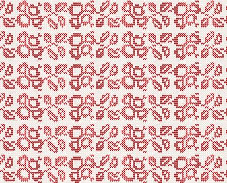 seamless knitted christmas pattern with flowers Vector
