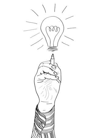 Hand of a businessman drawing lightbulb  vector illustration Stock Vector - 16880834