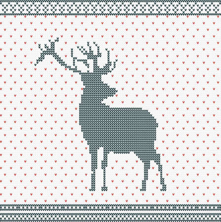 Christmas Knitted background with deer and ornament