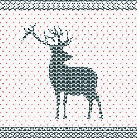 knitted background: Navidad de punto de fondo con los ciervos y ornamento