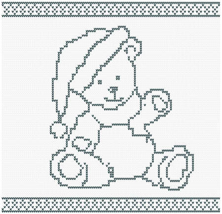 b day gift: Illustration of a Knitted Bear  Christmas