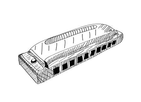 harmonica: Harmonica in black and white  Hand drawn illustration