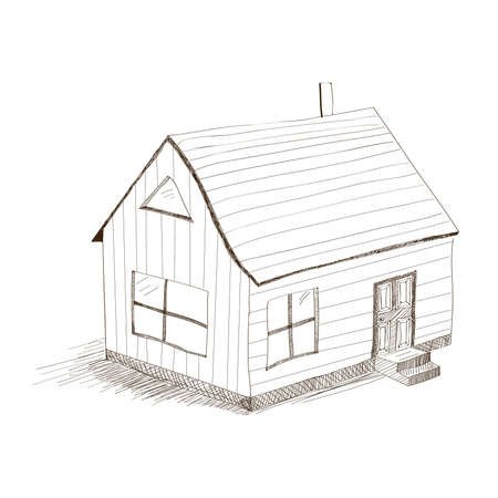 hand drawing house  vector illustration on white background Stock Vector - 16997094