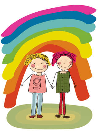 Two best friends smiling on rainbow background Vector