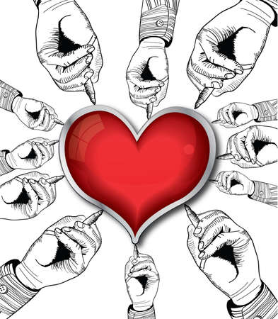 Red valentine heart drawing by hands. Retro vector illustration. Stock Vector - 17338687