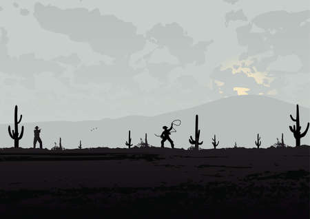 western landscape with cowboys Vector