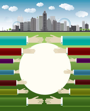 An imaginary big city with skyscrapers, blue sky,trees and hands vector illustration Stock Vector - 17474546