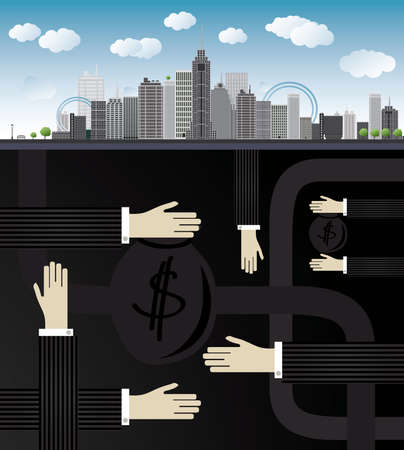 giving money: shadow economy illustration. Hand, giving money in bag to other hand, under city
