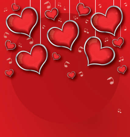 st valentin: Background with red Hearts, Valentines day illustration Stock Photo