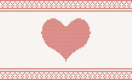 Knitted pattern with red heart