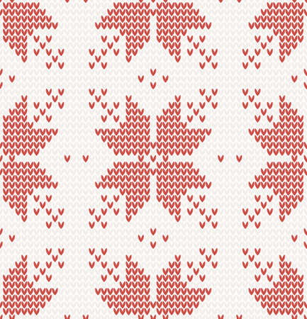 Seamless pattern with Red stars in Norwegian style illustration Vector