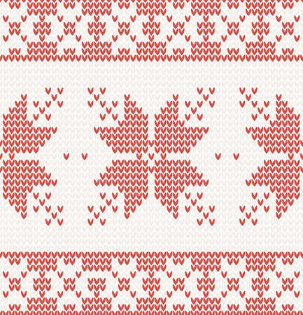 seamless knitted pattern with christmas ornament in red color Vector