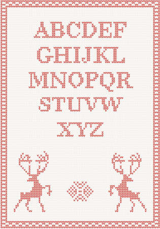 darning: Red knitted alphabet with deer illustration