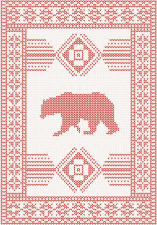 knitted pattern with bear and beautiful ornament