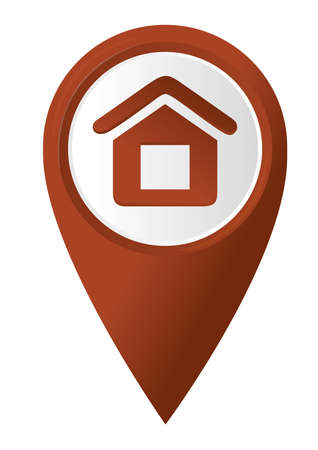 Home icon on the red map pointer  Vector illustration Vector