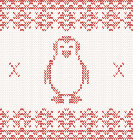 red knitted penguin. Illustration with christmas ornament Vector