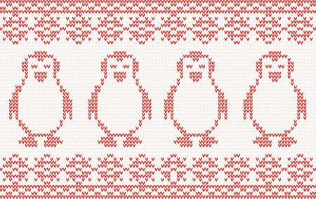 knitted background: hecho punto rojo de fondo con los ping�inos. Vectores