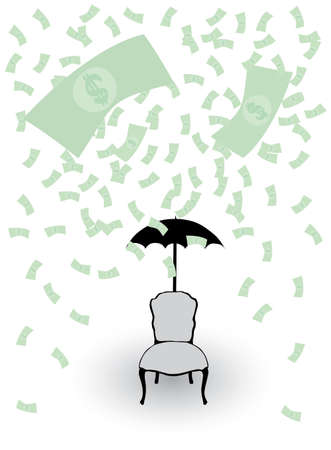 money rain and chair with umbrella Vector