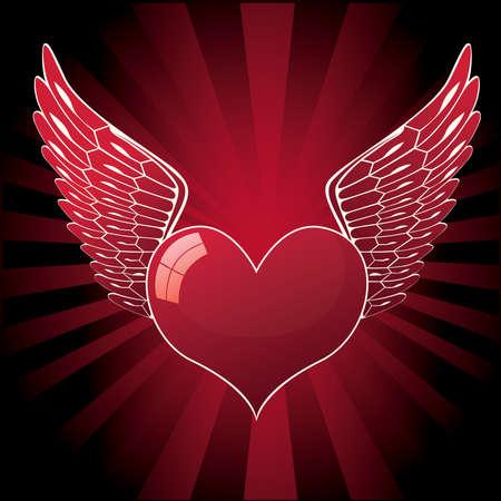 corazon con alas: coraz�n brillante con alas de ilustraci�n