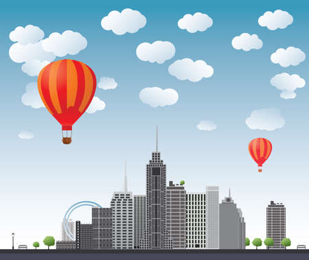 Hot air balloons flying over the skyscrapers.  Vector