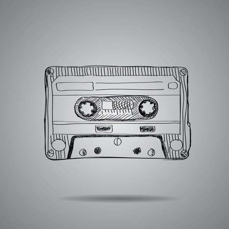 wav: hand-drawn cassette tape  vector illustration on grey