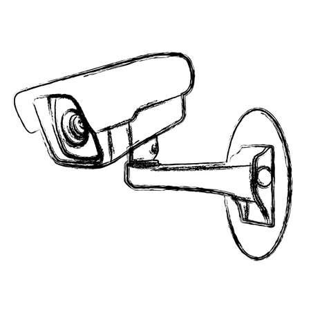 Witte Surveillance Camera CCTV Warning Sign Vector Illustratie