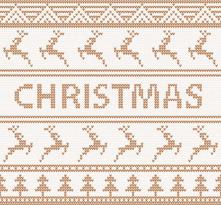 Christmas knitted pattern with deers in scandinavian style  seamless Vector