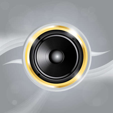 Music speaker of gold color on grey Stock Vector - 25317988