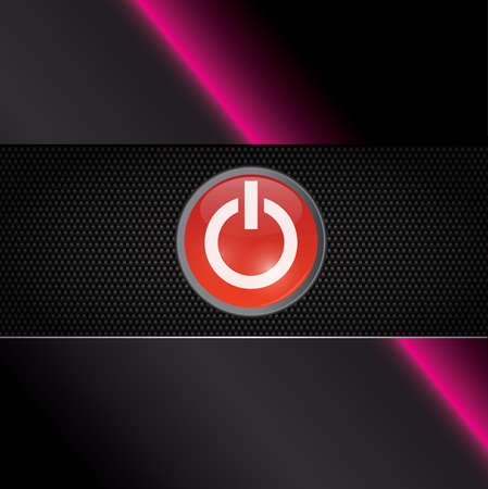 Power red shiny button on carbon background with neon light Vector