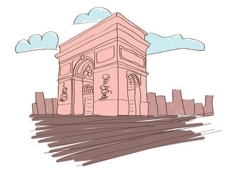 Arc de triomphe in Paris illustration  Illustration