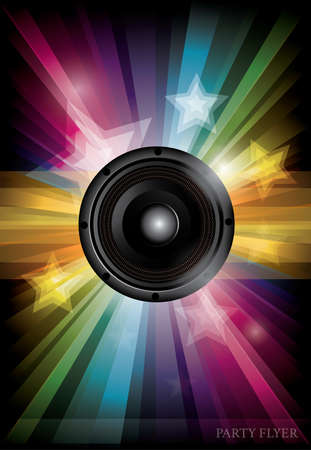 Disco club flyer with black speaker and transparency stars Vector