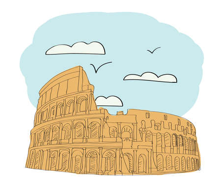 colosseo: Great Colosseum, Rome, Italy illustration
