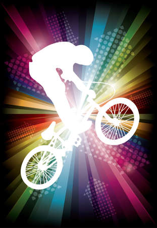 tire cover:  cyclist on rainbow background  vector illustration Illustration