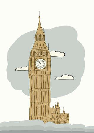 westminster abbey: Big Ben, London Illustration