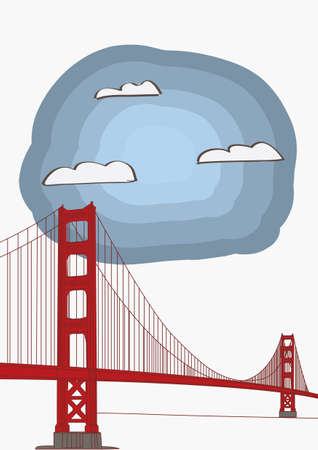 Vector Illustration of the Golden Gate Bridge for magazine or newspaper Çizim