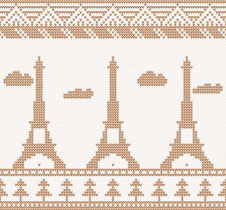 Eiffel tower  Scandinavian style seamless knitted pattern