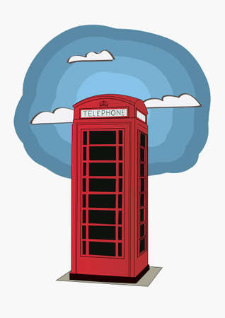 stereotypes: Red telephone box - London UK  vector illustration for newspaper or magazine