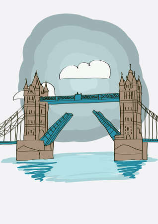 Tower Bridge of London - vector illustration for magazine or newspaper