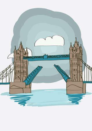 tower bridge: Tower Bridge of London - vector illustration for magazine or newspaper