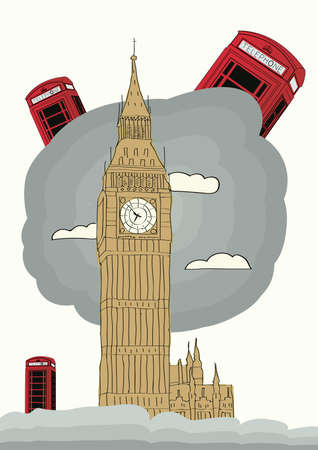london vector illustration with big ben and red phone box Vector