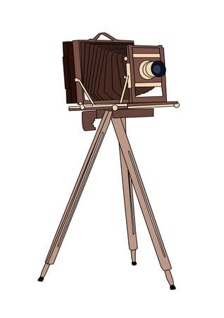 Wooden classic retro camera on tripod Vector illustration Illustration